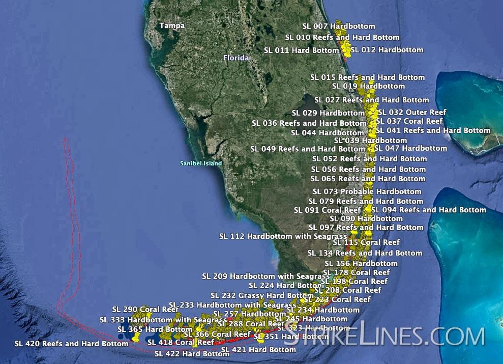 Map Of South Florida And Keys South Florida and Keys Reefs and Hardbottom – StrikeLines Fishing